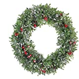 """Northlight Boxwood and Berries Pine Cone Artificial Christmas Wreath Unlit, 20"""", Green"""