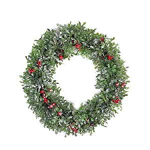 "Northlight Boxwood and Berries Pine Cone Artificial Christmas Wreath Unlit, 20"", Green"