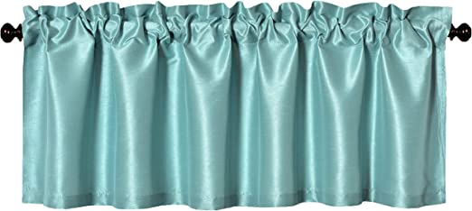 Solid Faux Silk Window Valance 56 By 16 Inches Aiking Home Aqua Pack of 2