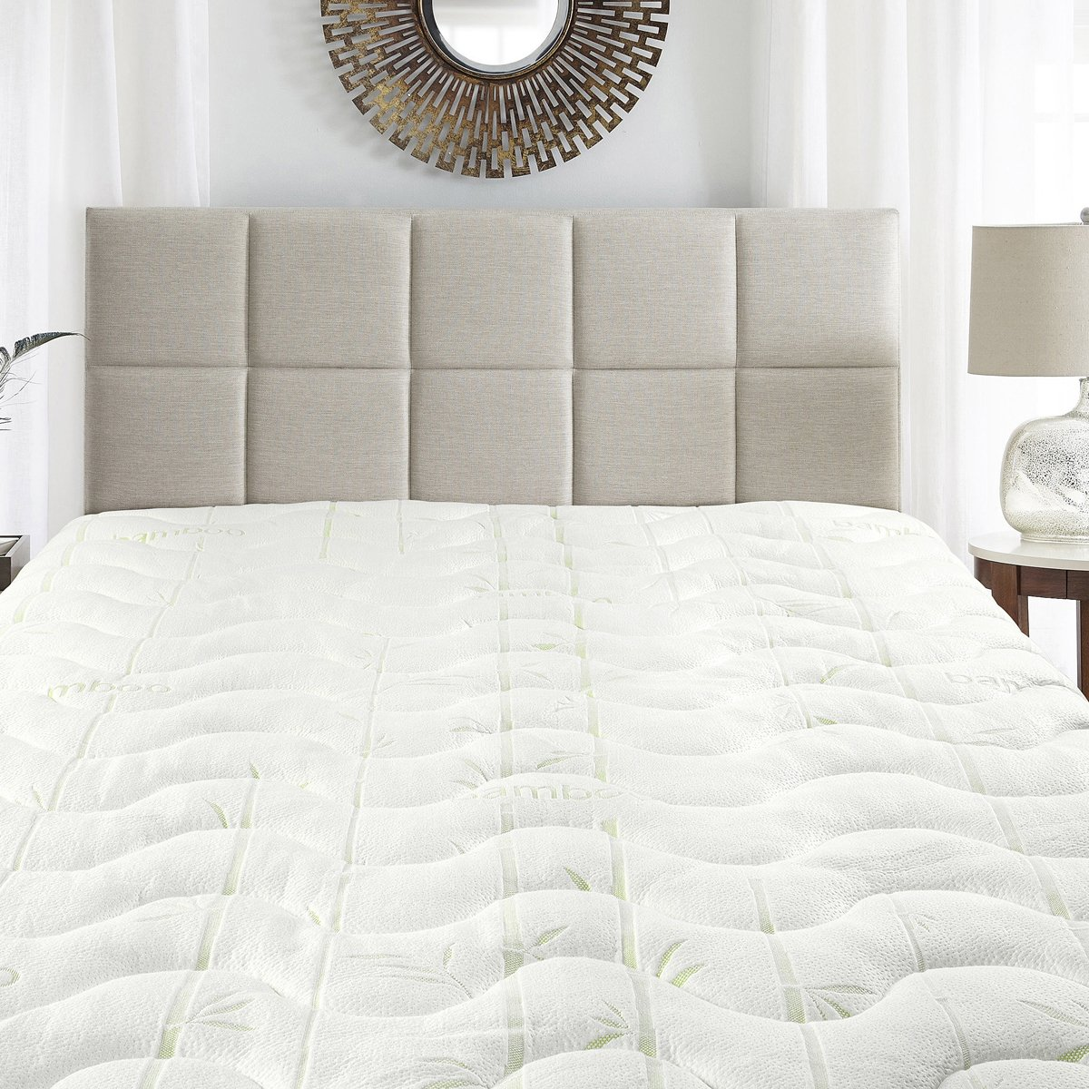 Waterproof Bamboo Jacqurad Blend Fitted Topper, King Mattress Pad by Royal Hotel
