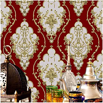 Jz Home Jz26 Crimson Red Luxury Damask Wallpaper Rolls Metal Lace Texture Embossed Victorian Wallpaper Bedroom Living Room Hotel Wall Decoration