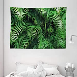 Ambesonne Green Tapestry, Tropical Exotic Palm Tree Leaves Branches Botanical Photo Jungle Garden Nature Eco Theme, Wide Wall Hanging for Bedroom Living Room Dorm, 80