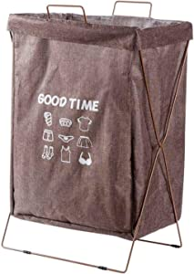 Cotton Linen Laundry Basket Clothes Hamper Folding Laundry Bag Kids Toys Storage Box Bin Laundry Hamper with Iron Handle Stand,Brown