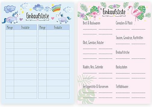 2er Set Einkaufszettel Block Im Handlichen Dina6 Format Einkaufsliste Wocheneinkauf Shopping Liste Einhorn Und Flamingo Motiv Amazon De Burobedarf Schreibwaren