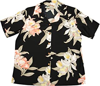product image for Paradise Found Women's Orchid Corsage Palm Aloha Shirt, Black, M