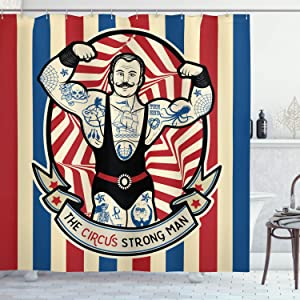 """Ambesonne Circus Shower Curtain, Nostalgic The Strong Man with Tattoos and Muscles Circus Star Fun Art Print, Cloth Fabric Bathroom Decor Set with Hooks, 70"""" Long, Beige Red"""