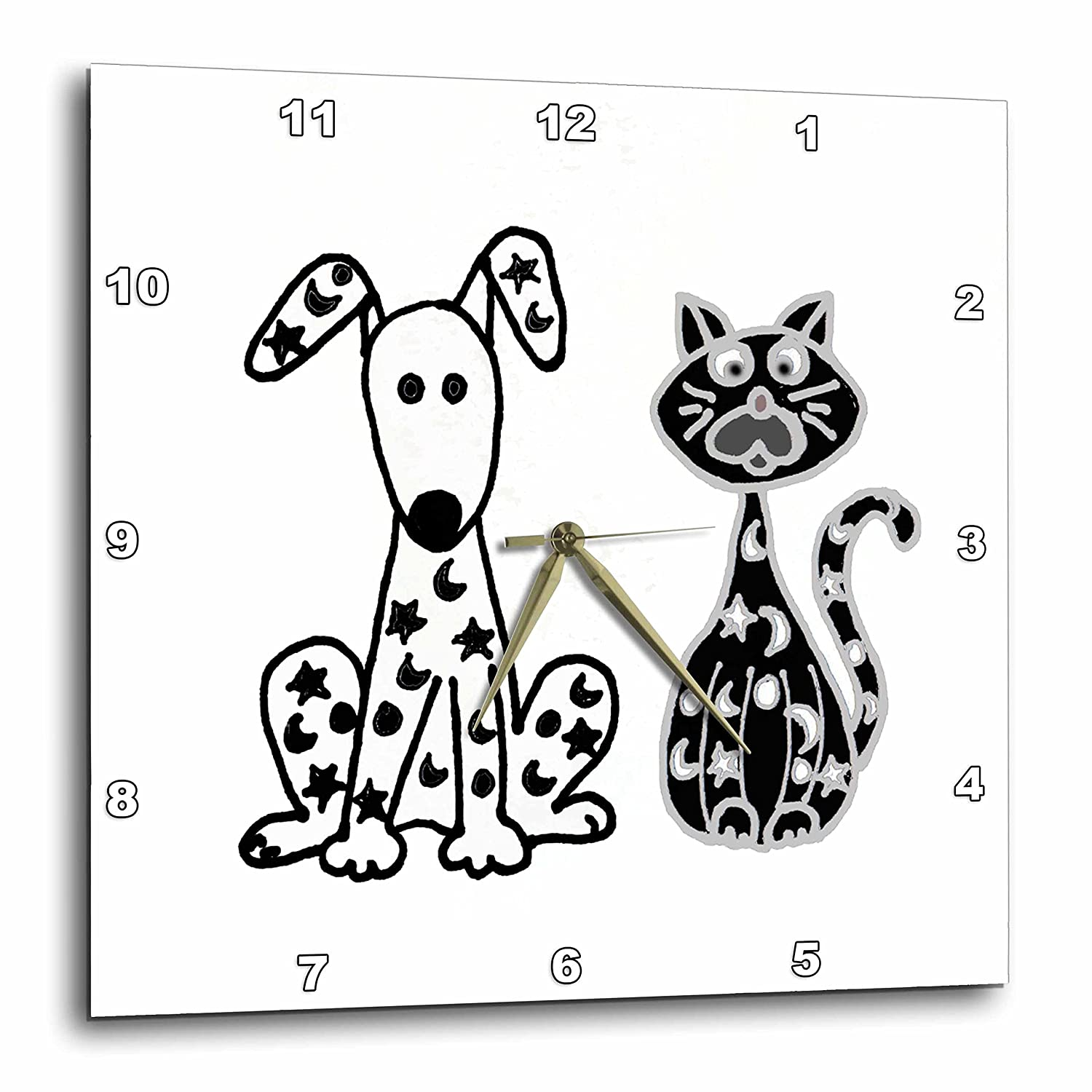 3D Rose Funny Dog and Cat with Stars and Moons Spots Wall Clock, 13
