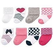 Luvable Friends Unisex 8 Pack Newborn Socks, Dark Pink/Navy, 0-6 Months