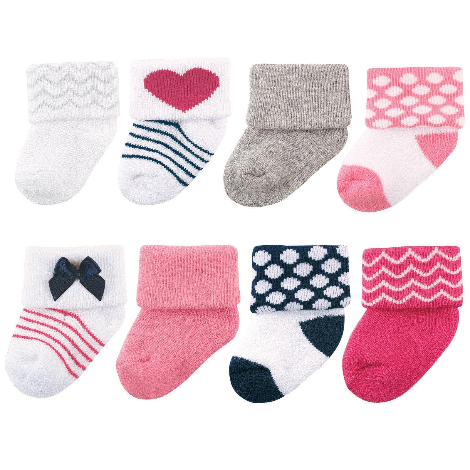 Luvable Friends Unisex 8 Pack Newborn Socks, Dark
