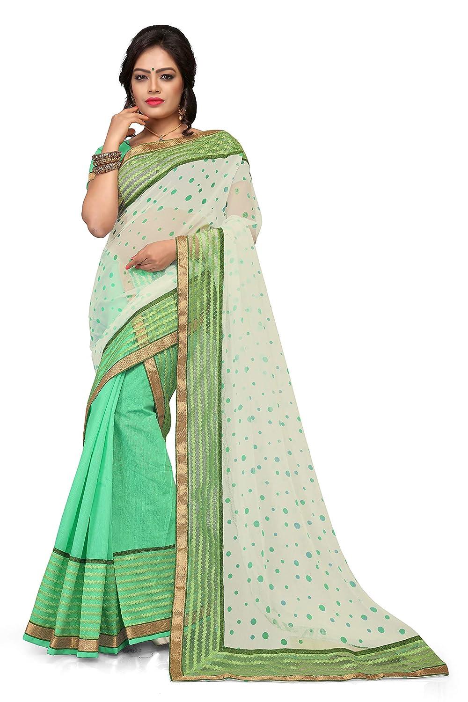 S Kiran's Assamese Green Art Cotton Mekhela Printed Siphon Chador Saree - Dn 4