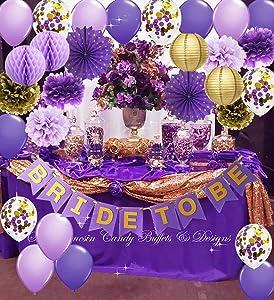 Purple Gold Bridal Shower Decorations Qian's Party Purple Gold Confetti Ballons Polka Dot Fans/Bride to Be Banner Purple Gold, Hen Party Engagement Banner Bachelorette Party Decorations