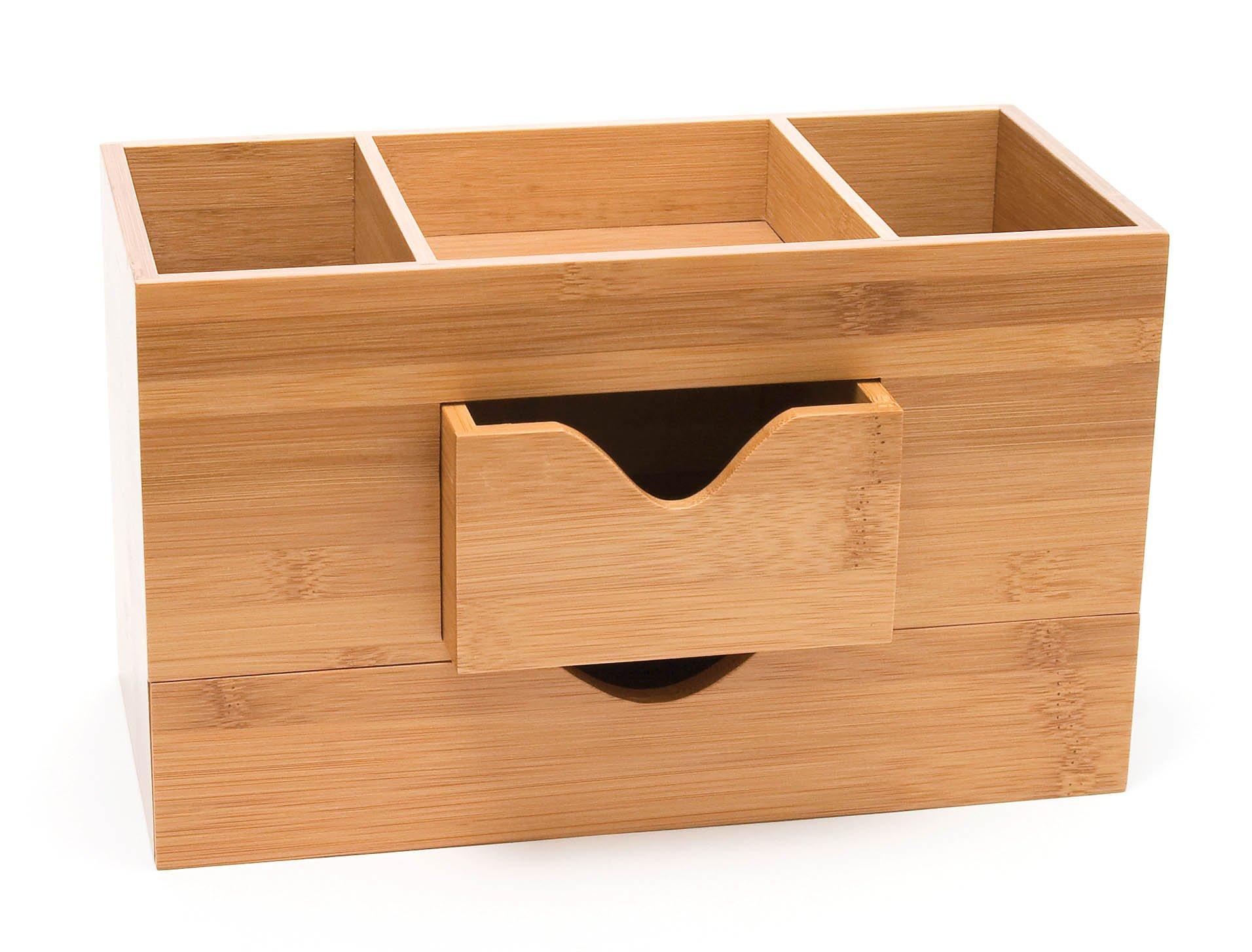 Lipper International 1803 Bamboo Wood 3-Tier Desk and Office Supply Organizer, 9 1/2'' x 4 5/8'' x 5 3/4''