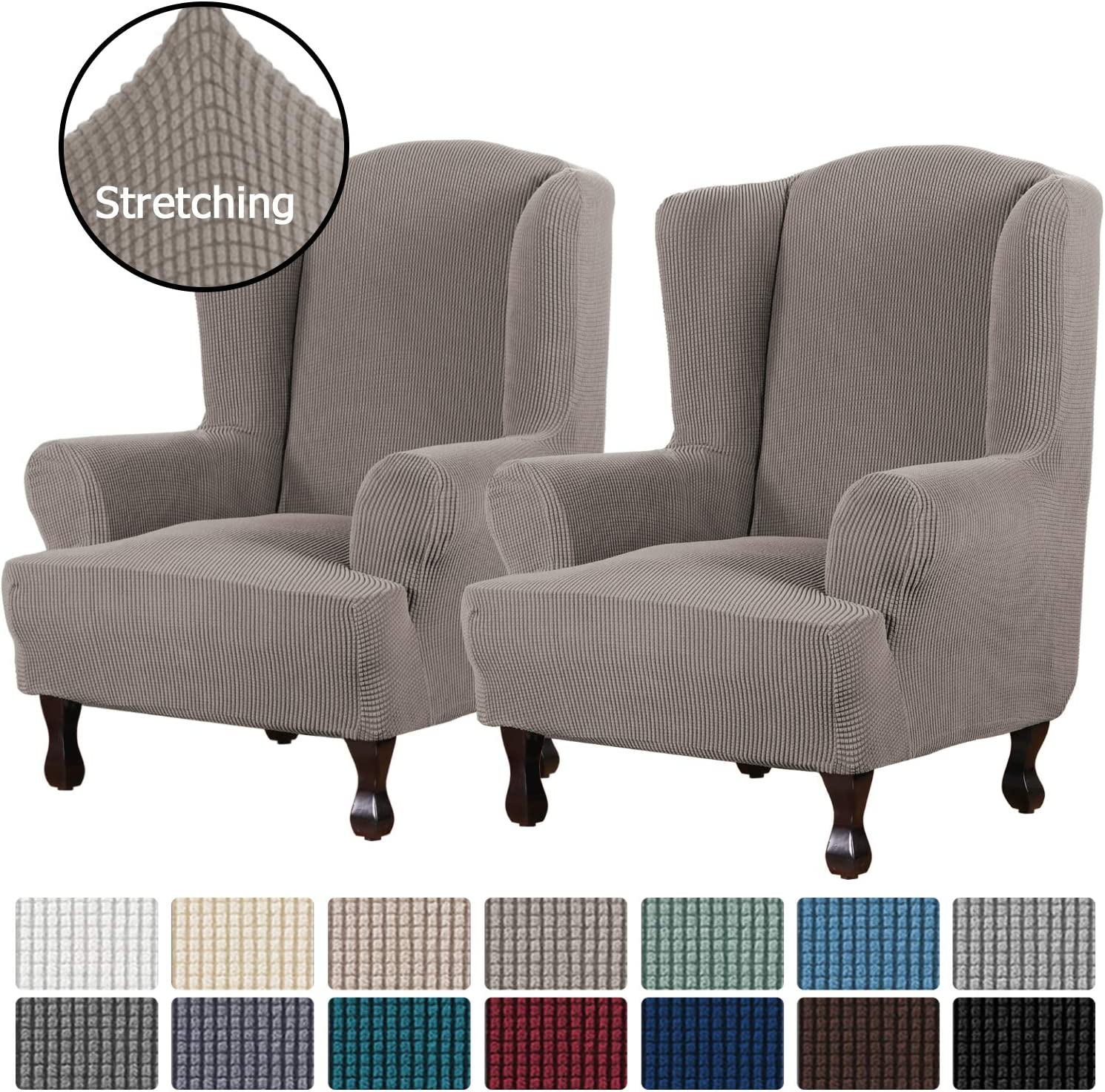Wing Chair, Burgundy Red 1 Piece Super Stretch Stylish Furniture Cover//Wingback Chair Cover Slipcover Spandex Jacquard Checked Pattern Super Soft Slipcover Machine Washable//Skid Resistance