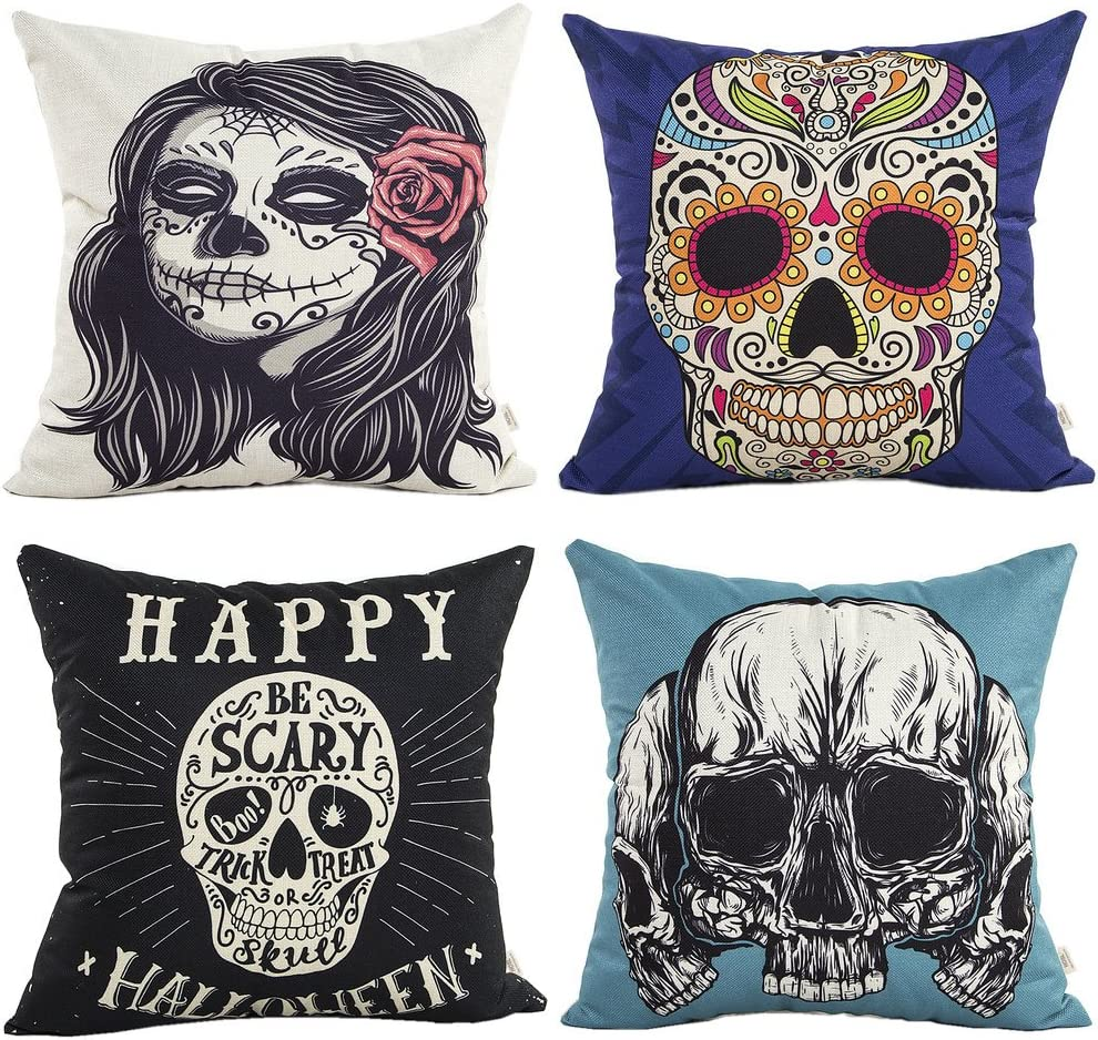 "HOSL 4 Pack PW07 Happy Halloween Decorative Pillow Cover Case 18"" X 18"""