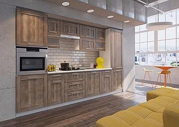 NEU komplette Küche MOHITO 320 cm Eiche Salina matt durchgehende ...
