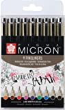 Sakura Pigma Micron Fineliners - Set of 9 Colours