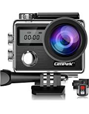 Campark Action Cam X20 HD 20MP 4K WiFi Touch Screen Macchina Fotografica Subacquea 30M con Custodia Impermeabile, Doppio Schermo LCD, Remote Control, EIS e Kit Accessori