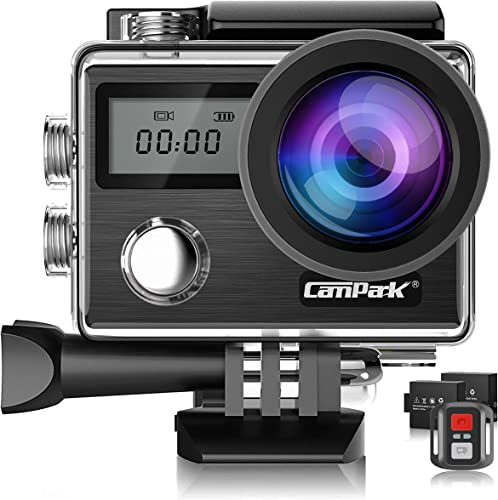 Campark X20 4K Action Camera 20MP with EIS Touch Screen Remote Control Waterproof Camera 30M 170 Adjustable View Angle 2 Batteries and Accessories Kit Compatible with GoPro