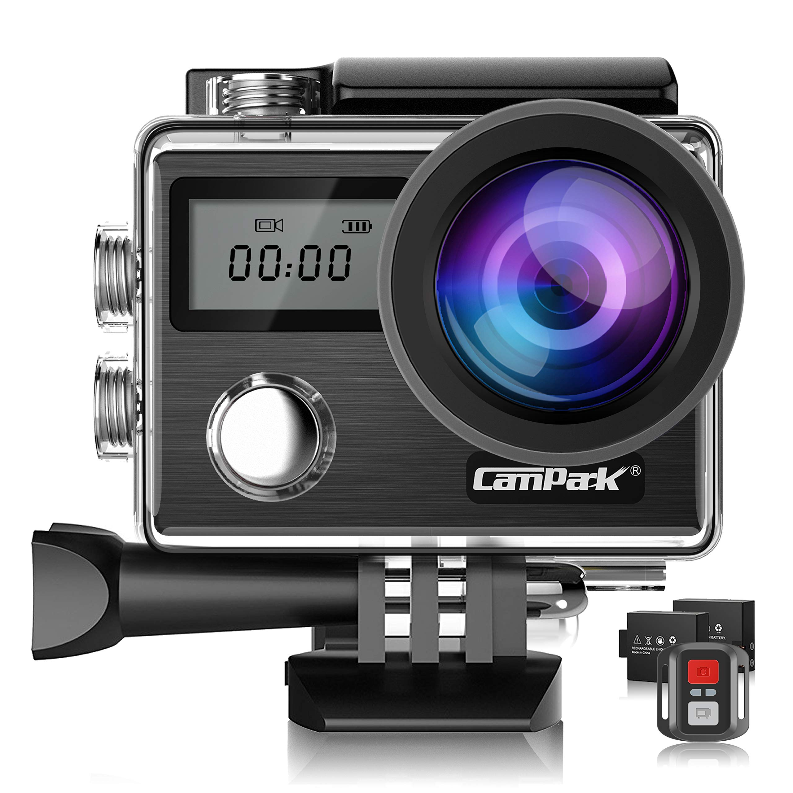 Campark X20 4K Action Camera 20MP with EIS Touch Screen Remote Control Waterproof Camera 30M 170° Adjustable View Angle 2 Batteries and Accessories Kit Compatible with go pro by Campark