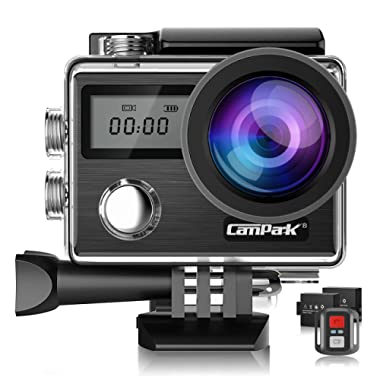 Campark X20 4K 20MP Action Camera Touch Screen EIS Anti Shake Waterproof Underwater Camcorder Adjustable View Angle with Remote Control 2 Batteries and Accessories Compatible for go pro