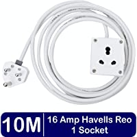 BITCORP Safe-Ex Polycarbonate 1 Socket 15/16 AMP, 10 m Wire Extension Board (1.5 mm, White)