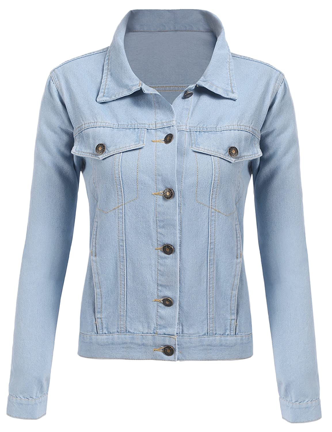 d0e554731d2 Top5  SE MIU Women s Long Sleeve Turn-Down Collar Trucker Button Up Denim  Jacket