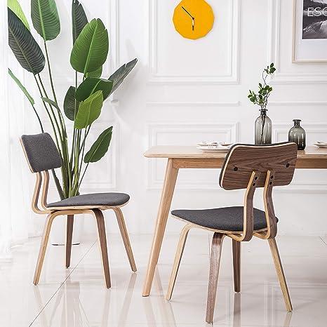 Amazon Com Yeefy Dining Chair Bent Wood Modern Dining Room Chairs Upholstered Living Room Chairs Set Of 2 Gray Chairs