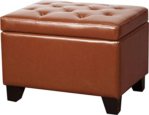 New Pacific Direct Julian Rectangular Bonded Leather Storage Ottoman,Pumpkin Orange