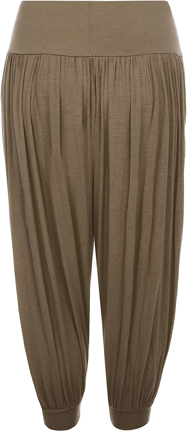 WearAll Womens Plus Size Cropped Harem Trousers