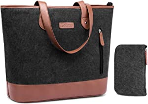 Laptop Tote Bag DTBG 15.6 Inches Women Shoulder Bag Canvas Briefcase Casual Handbag Lightweight Laptop Case for Work Business Shopping Travel(Black)
