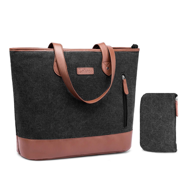 Laptop Tote Bag DTBG 15.6 Inches Women Shoulder Bag Nylon Briefcase Casual Handbag Lightweight Laptop Case for Work Business Shopping Travel(Black)