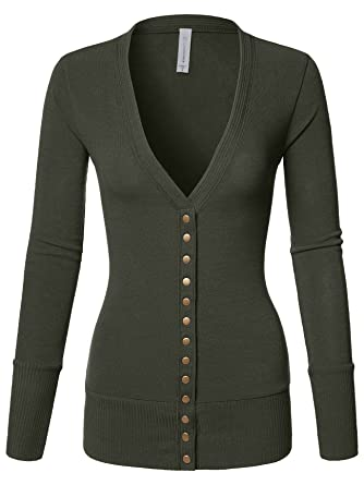 2b1345791 Luna Flower Women s V-Neck Snap Button Long Sleeve Soft Basic Knit ...