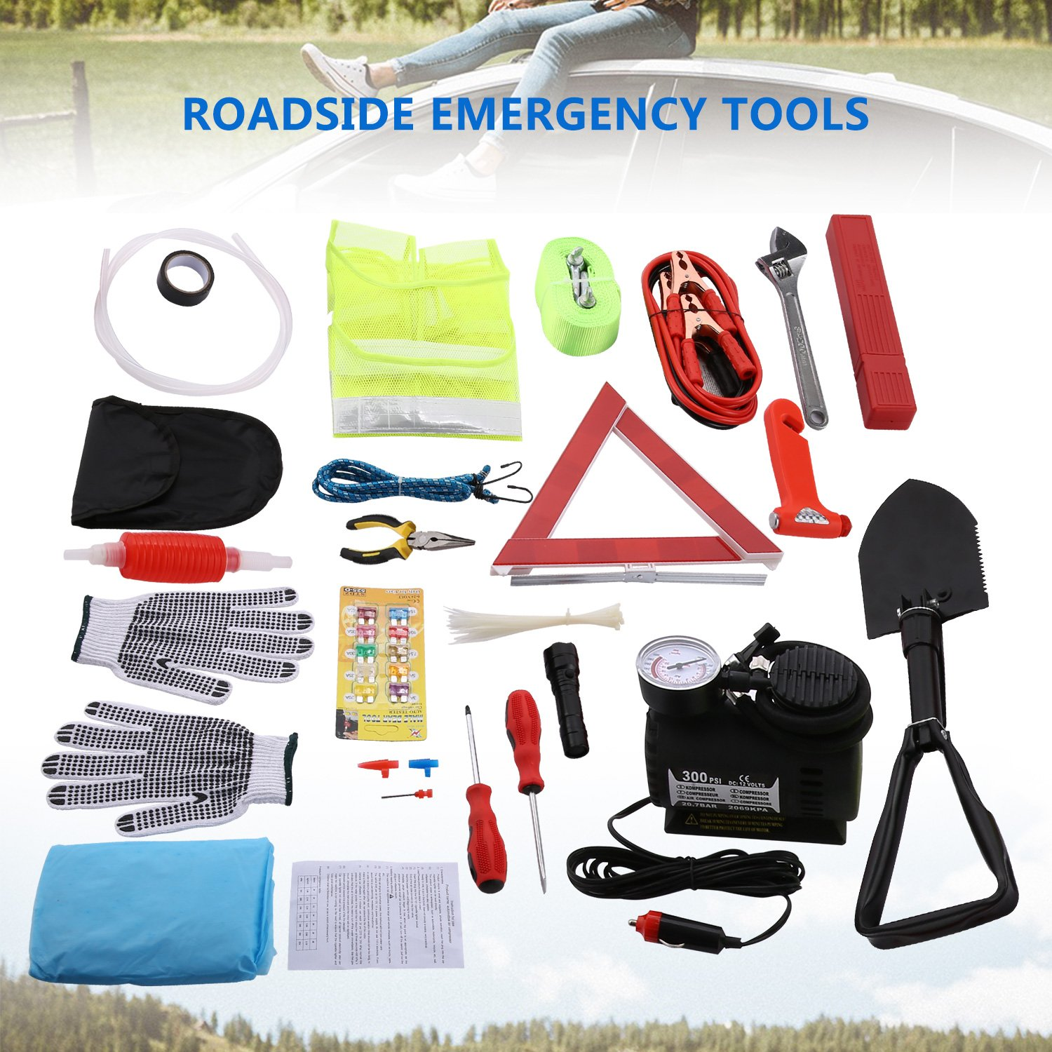 Triangle 99 in 1 Multifunctional Roadside Car Breakdown kit with Jumper Cables Tow Rope Flashlight Tire Pressure Gauges etc Safety Hammer Sailnovo Auto Emergency Kit