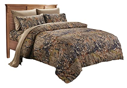 20 Lakes Alternative Down Microfiber Natural Camo Comforter Queen Full Size