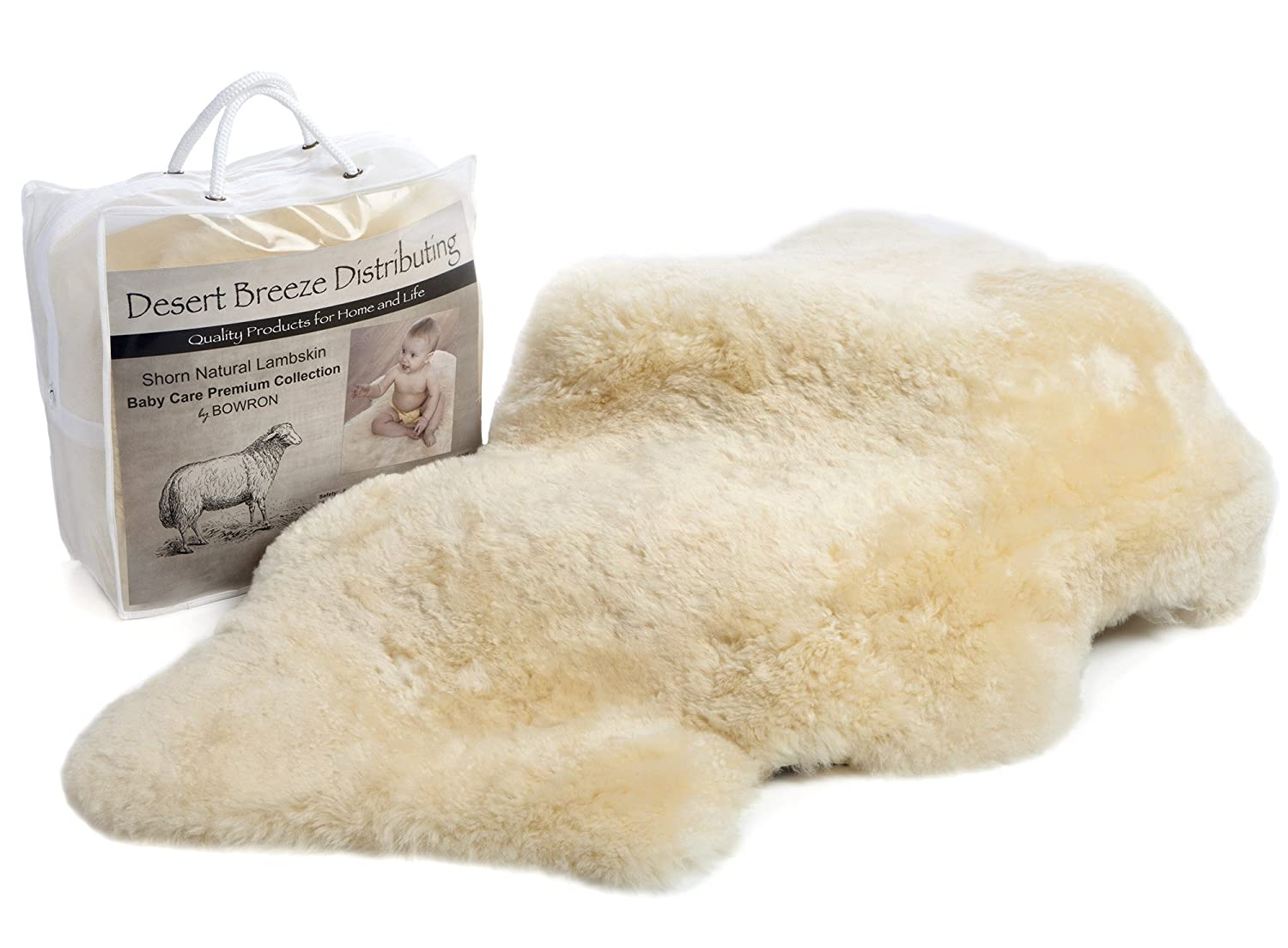 Classic New Zealand Sheepskin Baby Rug, 100% Natural, Washable, Silky Soft Short Wool, Medium Size, Oeko-Tex and Woolmark Certified, Made in New Zealand Desert Breeze Distributing