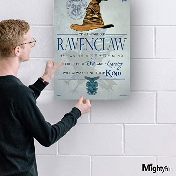 Mightyprint Harry Potter Sorting Hat Ravenclaw Wall Art Decor Next Generation Premium Print Featuring Hogwarts House Quote Poem Posters Prints Amazon Com