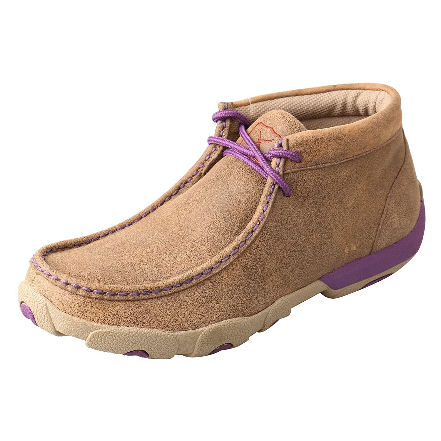 Twisted X Women's Leather Lace-up Rubber Sole Driving Moccasins - Bomber/Purple B015RWUOYW 9.5 B(M) US Bomber/Purple