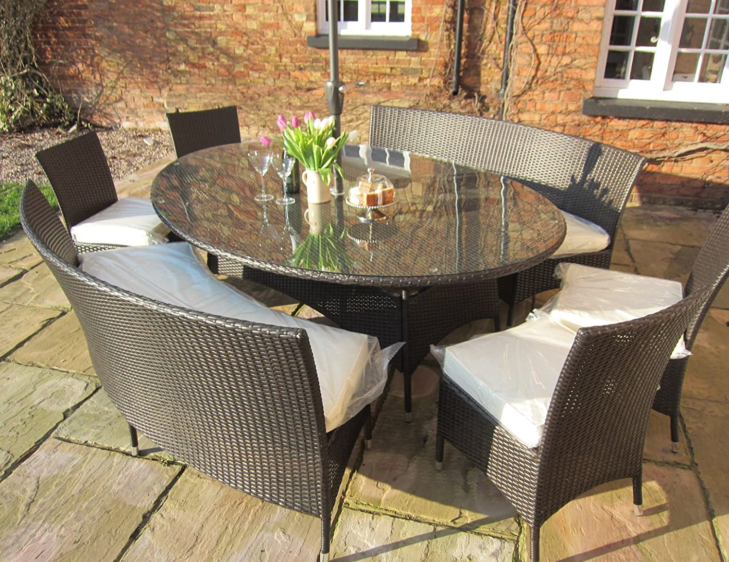 Balmoral ALL WEATHER Rattan Dining Set Oval Table And 10 Seat Bench And  Chairs With Cushions U0026 FREE COVER WORTH £70 FOR A LIMITED TIME.