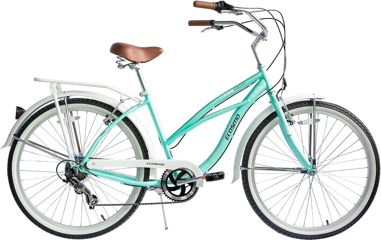 Ecosmo 26B15G - Bicicleta de Paseo (Para Mujer, Clásica, 7 a 17 ...