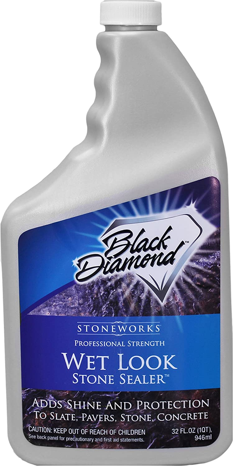 Black Diamond Stoneworks Wet Look Natural Stone Sealer Provides Durable Gloss and Protection to: Slate, Concrete, Brick, Pavers, Sandstone, Driveways, Garage Floors. Interior or Exterior. 1-Quart