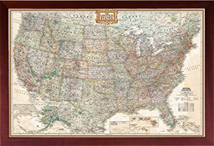 Amazon Com Framed Vintage Map United States Map Of The United