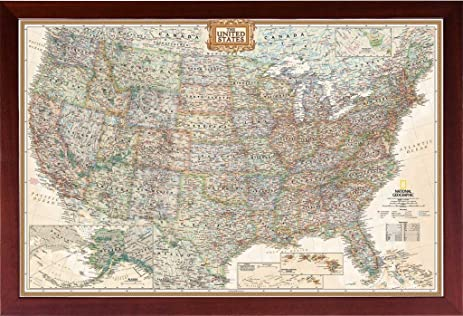 Amazoncom FRAMED Vintage Map United States Map Of The United - Us map picture frame