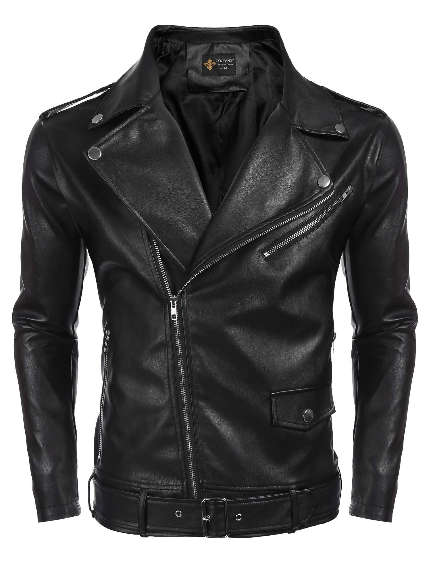 COOFANDY Men's Belt Design Leather Motorcycle Jacket Zipper Biker Jacket Coat,Black,XX-Large by COOFANDY