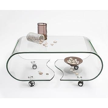 Homely - Mesa de Centro con Ruedas y Cristal Curvado de una Pieza Coffee - 90x50