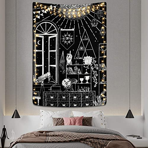 Moon Altar Tapestry Tarot Gothic Tapestry Black and White Tapestry Sacred Witchcraft Tapestry Wall Hanging for Room 70.9 92.5 inches