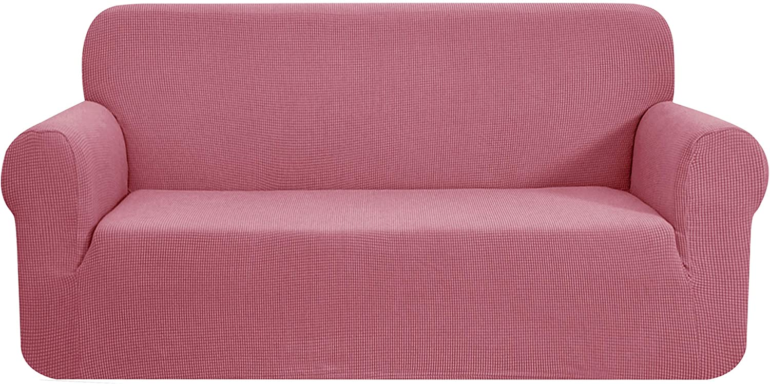 CHUN YI Stretch Sofa Slipcover 1-Piece Couch Cover Furniture Protector,3 Seater Settee Coat Soft with Elastic Bottom,Checks Spandex Jacquard Fabric, Large, Coral Pink