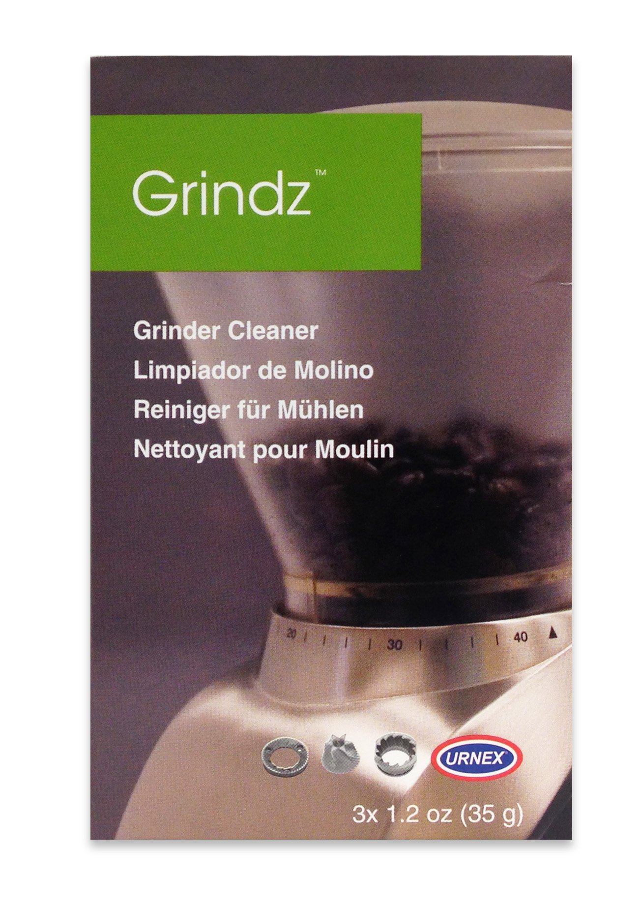 Urnex Grindz Professional Coffee Grinder Cleaning Tablets, 3 Single Use Packets
