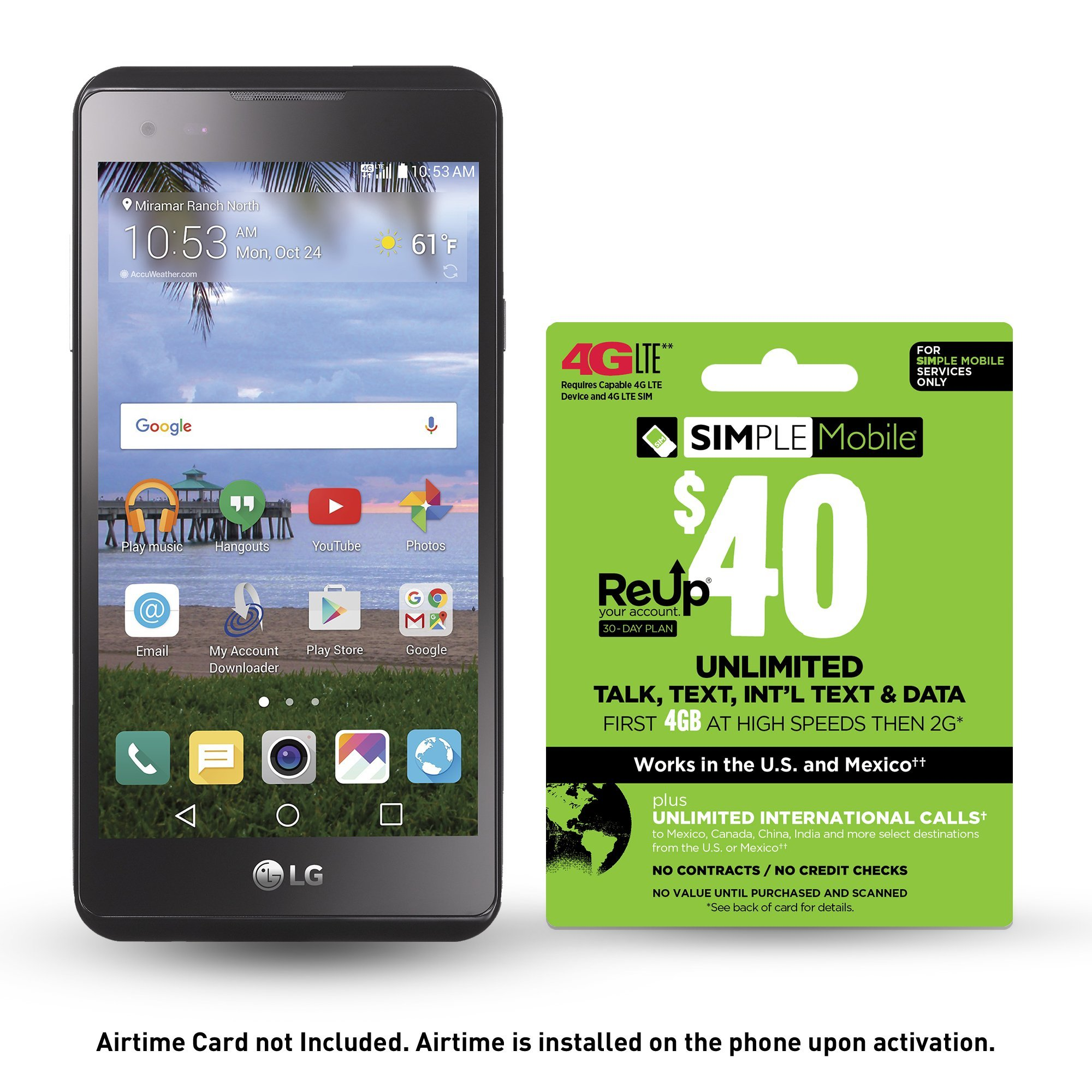 Simple Mobile SMLGL53BGP5ET Prepaid Smartphone, LG X Style 4G LTE with Airtime Bundle