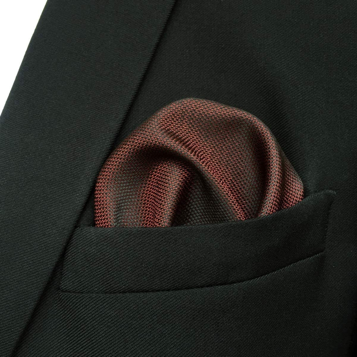 S/&W SHLAX/&WING Solid Maroon Mens Neckties Red Matching Pocket Square Only