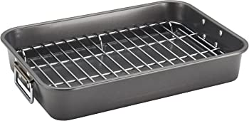 Farberware Nonstick Bakeware 11' x 15' Roaster with Flat Rack